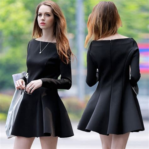 V Slim Dress Black W6966ni D slim sleeved black dress wensoal