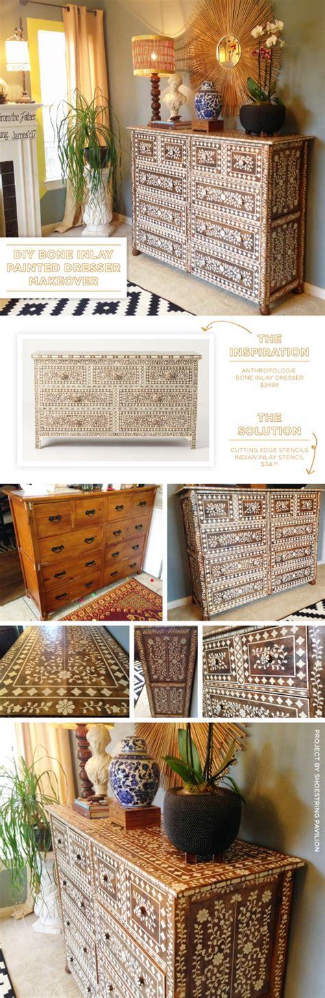 Ideas For Bone Inlay Furniture Design Diy Bone Inlay Painted Dresser Makeover Stencil Stories Stencil Stories