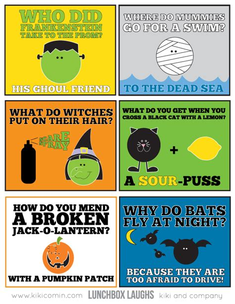 printable kid jokes funny 5 sets of halloween lunchbox laughs lunch box free