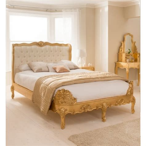 buy baroque upholstered gold leaf bed