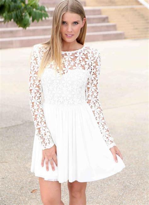 White Lace Sleeved Dress white dress lace sleeves ejn dress