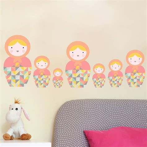 russian doll wall stickers babushka matryoshka dolls pk5 fabric wall stickers by snuggledust studios notonthehighstreet
