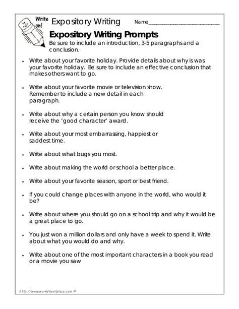 Tips For Writing Expository Essays by Expository Writing Prompts