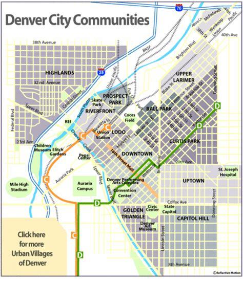 map of colorado cities near denver central denver neighborhoods map denver mappery