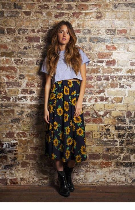 sunflower midi skirt and big black boots grunge style x