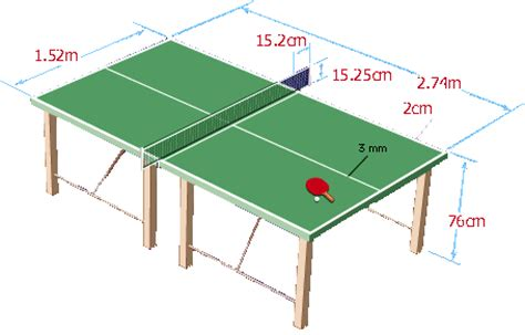 table tennis dimensions sports