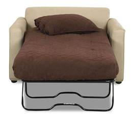 White cream color leather twin size sleeper sofa chairs with fold out bed memory foam mattress