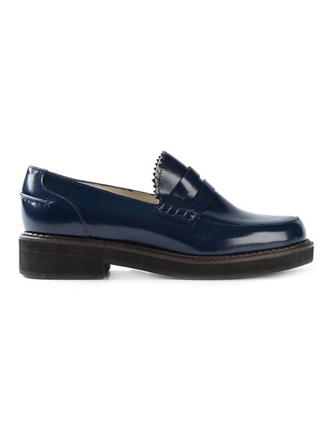 bottom loafers jil sander navy chunky sole loafers in blue lyst