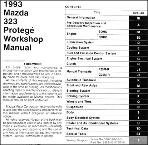 vehicle repair manual 1993 mazda protege regenerative 1993 mazda 323 and protege repair shop manual original