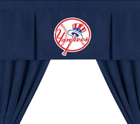 yankee curtains mlb new york yankees 5pc long drapes valance set