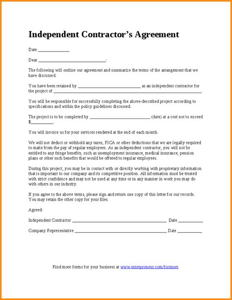 Contractor Letter Template 7 Independent Contractor Agreement Sle Workout Spreadsheet