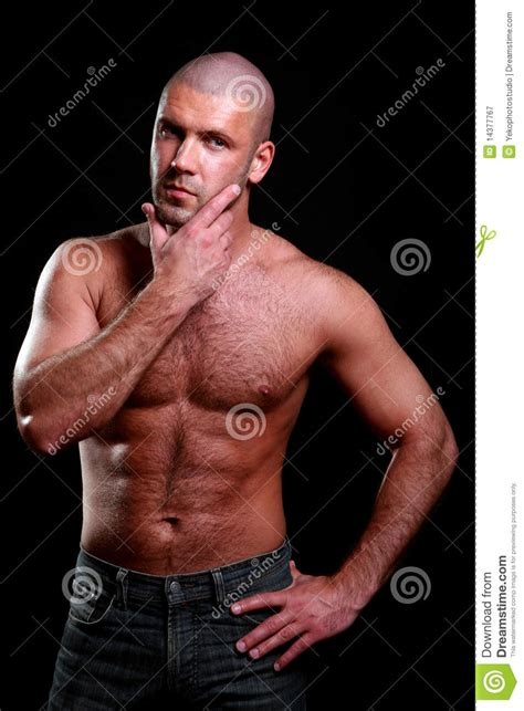 young  muscular man  black stock image image