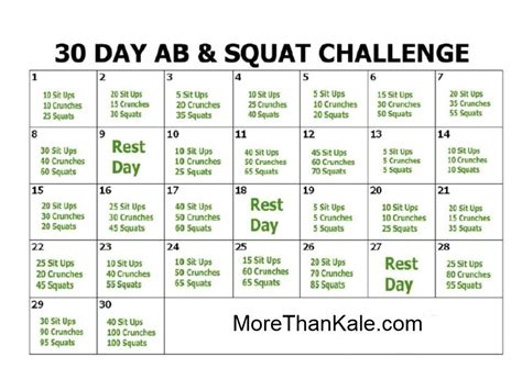squat challenge and ab challenge how to do the 30 day ab and squat challenge more than kale