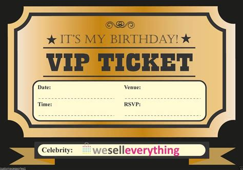 Classy Vip Ticket Template Exle For Birthday Party With Gold Color Nuance And Black Font Vip Birthday Invitations Templates Free