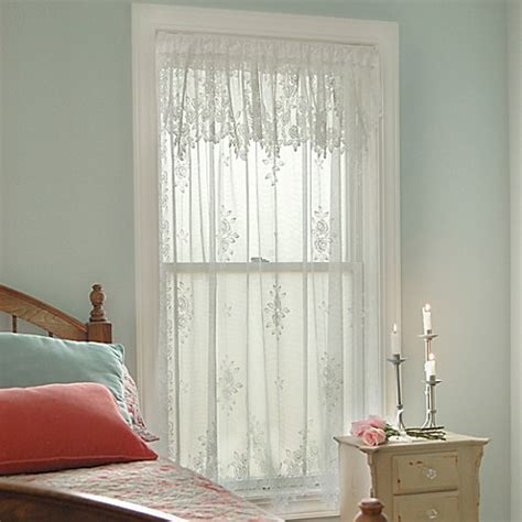 lace curtains bed bath and beyond heritage lace 174 tea rose rod pocket window curtain panel