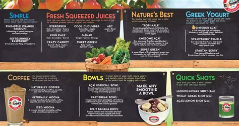 top bar franchises robeks corporation smoothie drinks menu healthy drinks