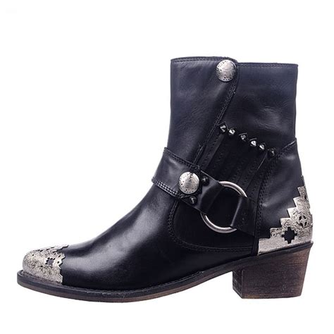 Flatshoes Ankle Ks 80 womens metal buckle flat ankle boots shoes pointed toe motorcycle boots genuine leather