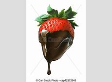 Drawing of Strawberry half covered by liquid chocolate ... Dripping Chocolate Background