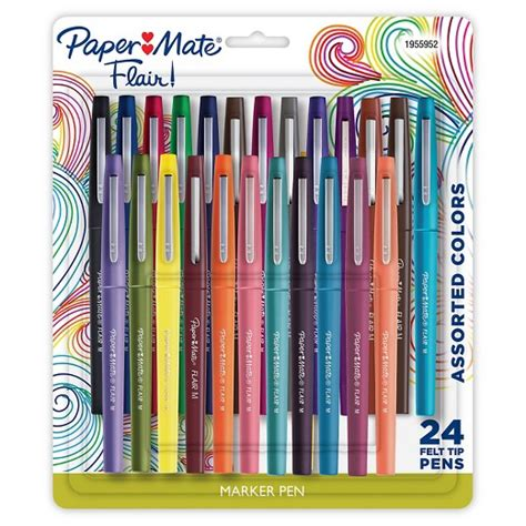 color marker pens paper mate felt tip marker pens medium tip 24ct