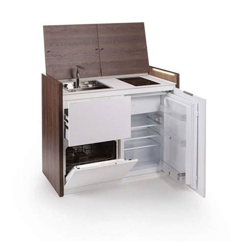 compact kitchen sink range refrigerator in a modular compact all in one kitchen unit hides stove fridge and