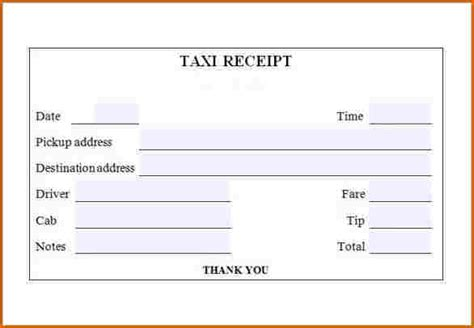 Receipt Template Taxi by Cab Receipt Template Ideal Vistalist Co