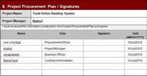 qi project template software project management project procurement plan