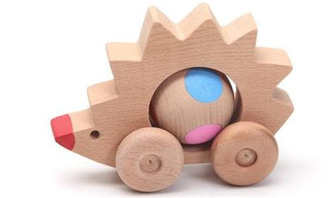 Handmade Childrens Toys - lovely handmade wooden rolling hedgehog by