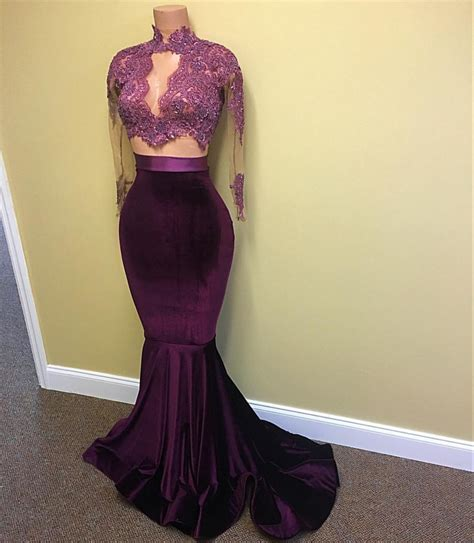 Sexy Velvet Evening Gown 2018 High Neck Lace Long Sleeve Prom Dress with Keyhole BA4641 Prom