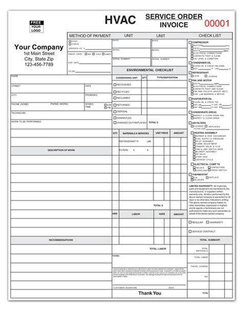 hvac service report template ticket on