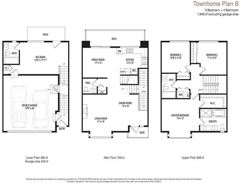 townhouse floor plans with garage double garage townhouse images