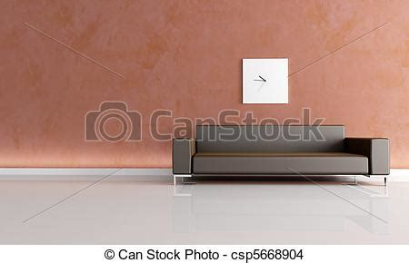 Brown Living Room Clipart Drawing Of Minimal Brown Living Room Stucco Wall And