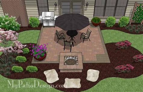 diy square patio design with pit plan