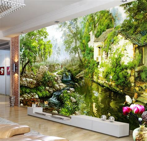 greens wallpaper shop sunderland aliexpress com buy 3d wallpaper painting country rivers