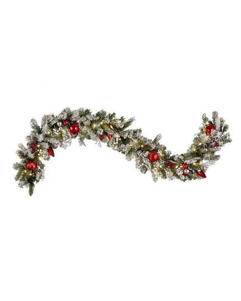 christmas snow outdoor pre lit cordless wreath garland urn