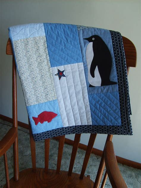 Patchwork Penguin - handmade penguin appliqued blue quilted throw blanket