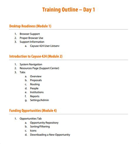 Session Outline Template by Outline Template 9 Free Documents In Pdf Word
