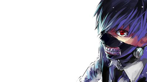 cool tokyo ghoul kaneki ken mask wallpaper with blue hairs