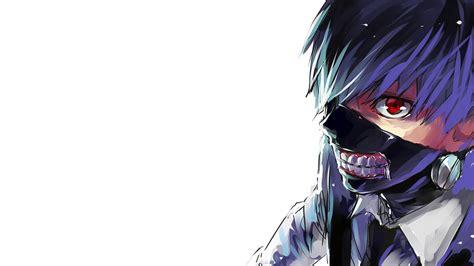 cool tokyo ghoul kaneki ken mask wallpaper with blue hairs