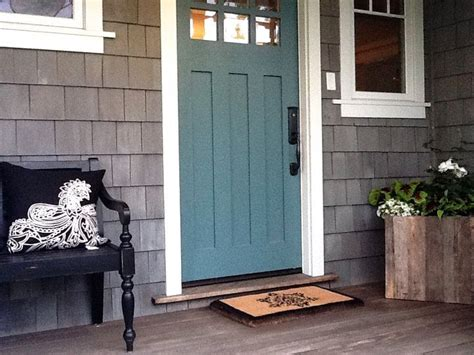 front door colors  grey house   teal front