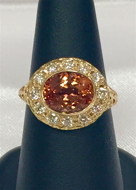 14k yellow gold citrine and filigree ring