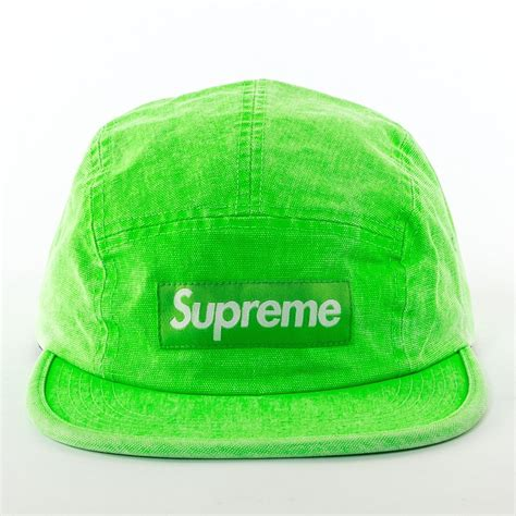 supreme 5 panel supreme 5 panel washed canvas c cap green washed neon