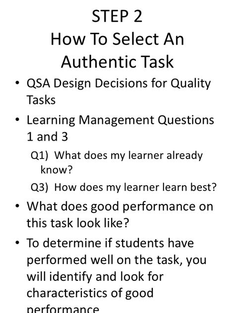 qsas design guidelines tool box for authentic assessment
