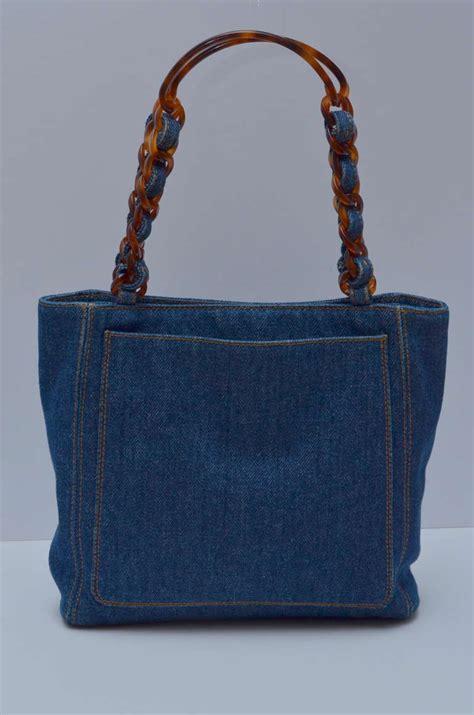 chanel mini denim tote handbag tortoise handle at 1stdibs