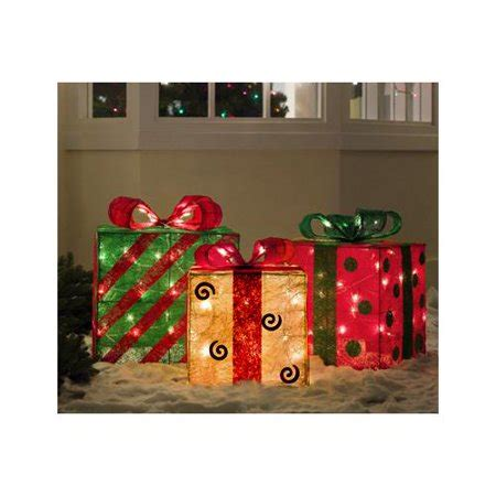 set of 3 lit gift boxes set of 3 gold green and sisal gift boxes lighted yard walmart