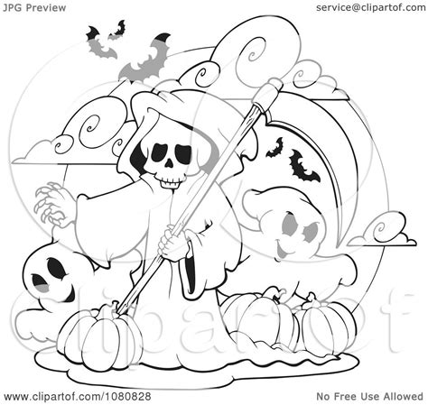 halloween coloring pages grim reaper clipart outlined grim reaper and ghosts with halloween