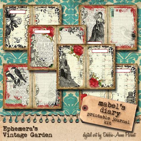 printable journal kits ephemera s vintage garden mabel s diary printable