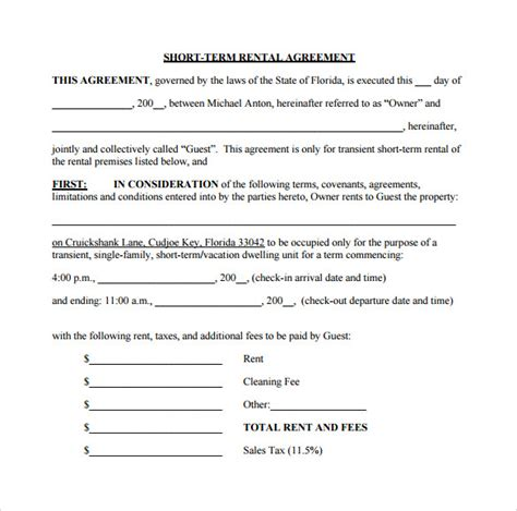 sample short term rental agreement   documents