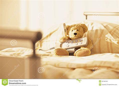 teddy bear bed bed teddy bear hospital remote control royalty free stock