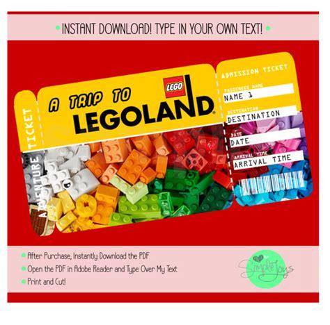 Printable Legoland Tickets | printable ticket to legoland boarding pass adventure