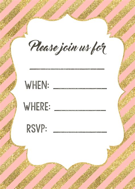 printable paper invitations pink and gold invitations free printable paper trail design